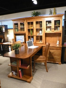 T-Shaped Partner's Desk with Wall Hutch Fully Customizable. Please contact us for pricing details.
