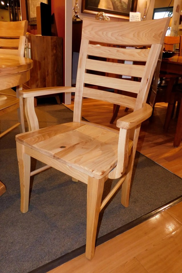Metro Ladder Arm Chair with Wood Seat Wood Species Shown: Rustic Hickory Fully Customizable. Please contact us for pricing details.