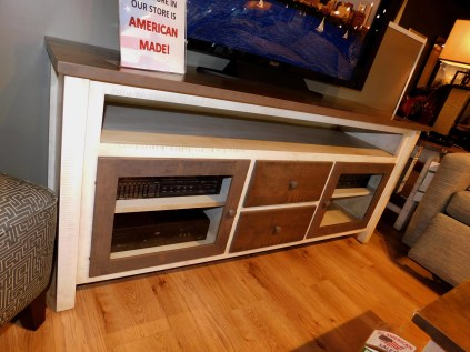 """Urbana TV Stand featuring ReSawn Plank Top with Glass Doors, Wood Drawers and Box Opening Wood Species Shown: Brown Maple / Rustic Cherry Dimensions: 20""""D x 66""""W x 29.5""""H Fully Customizable. Please contact us for pricing details."""