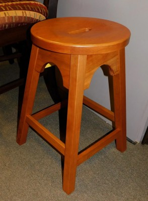 """English Mission Bar Stool with Hand-Hold Cutout Wood Species Shown: Cherry Dimensions: 24""""H Fully Customizable. Please contact us for pricing details."""