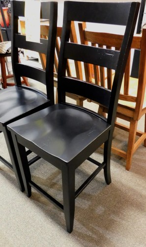 Black Ladderback Bar Chair Wood Species Shown: Brown Maple Special Feature: Heavy Distressing Fully Customizable. Please contact us for pricing details.