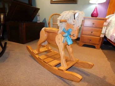 Deluxe Rocking Horse with Wood Seat Wood Species Shown: Oak Partially Customizable. Please contact us for pricing details.