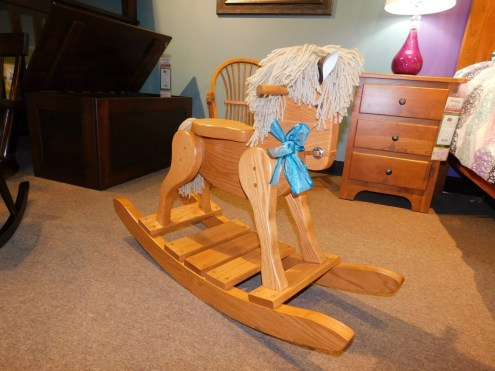 Deluxe Rocking Horse with Wood Seat Wood Species Shown: Oak Price As Shown*: $210 Partially Customizable. *Price of piece not inclusive of current sales. Please see our Pricing page for more details.