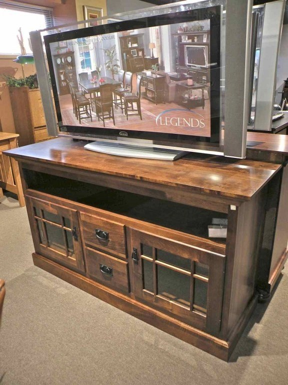 """60"""" Mission TV Stand #FWE-SV60 - Nisley Wood Species Shown: Rustic Cherry Fully Customizable. Please contact us for pricing details."""