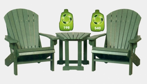 2 Foot Stationary Adirondack Chair #242 and Solitary Fan Table #2401