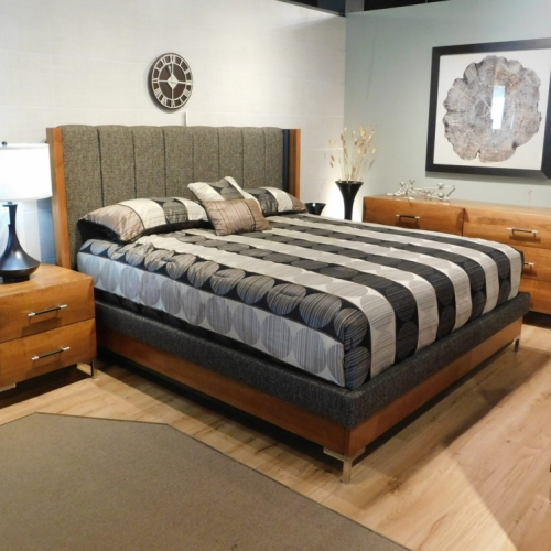 American Modern Vertical Panel Bed with Upholstered Headboard