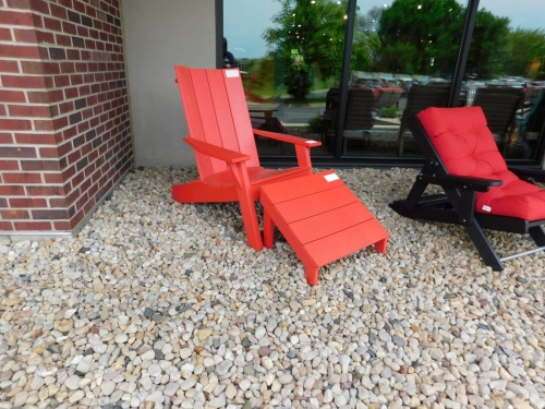 Bright Red Cape Cod Chair and Leg Rest