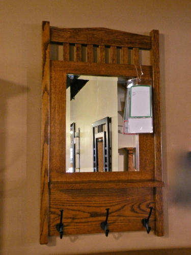 Mission Wall Mirror with Coat Hooks