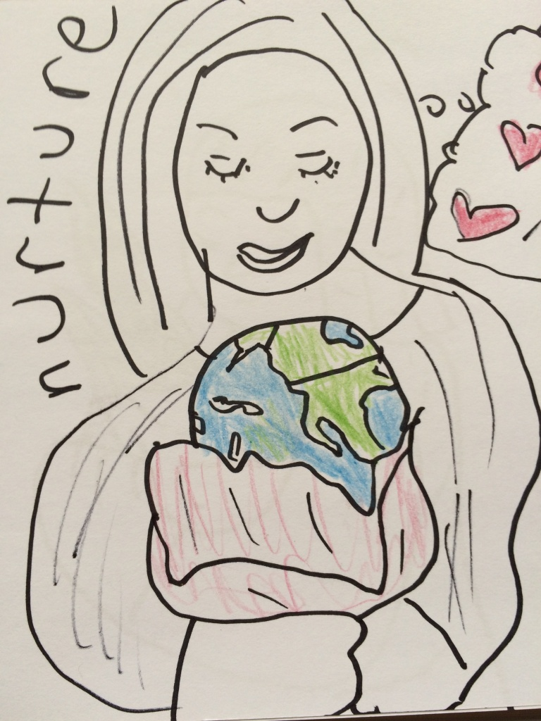 woman lovingly holding the earth with a blanket