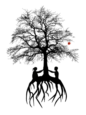 Tree with two women holding up the trunk