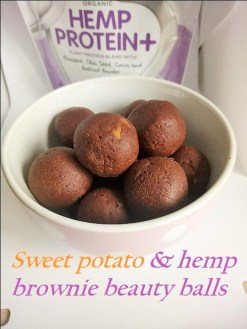 Sweet potato hemp protein brownie beauty balls Desserts energy balls Grainfree snack vegan