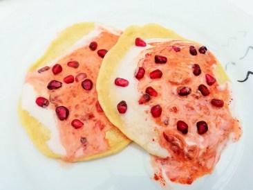 Coconut, harissa and pomegranate chickpea pancakes Breakfast Dinner Grainfree Lunch vegan