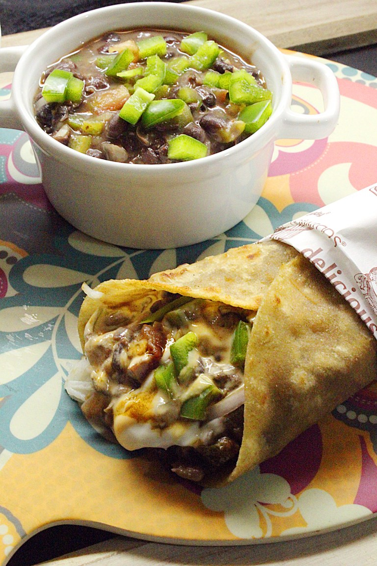 Burrito with mexican black beans dip or salsa