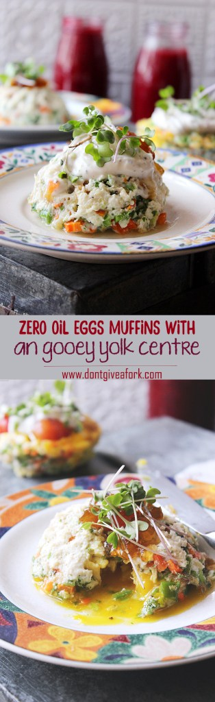 Breakfast ideas with gooey yolk egg muffins, zero oil recipe, healthy,
