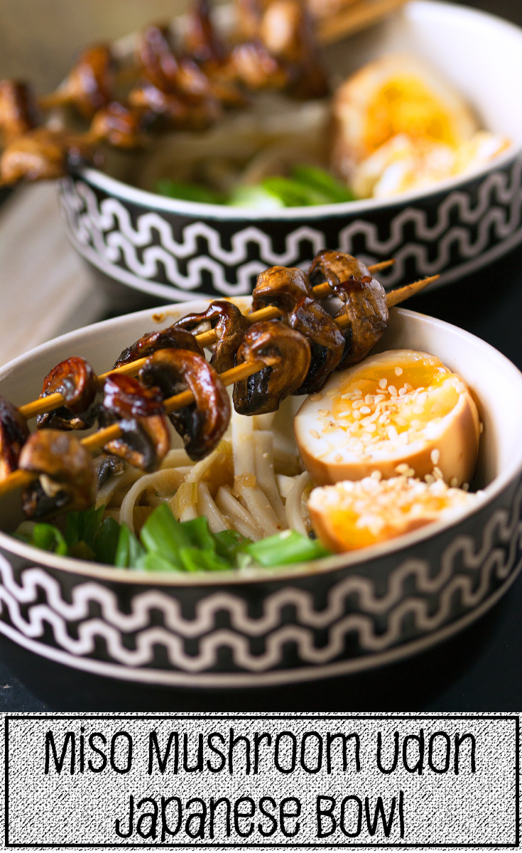 Japanese Noodle Bowl with grilled mushrooms, japanese style eggs and miso soup