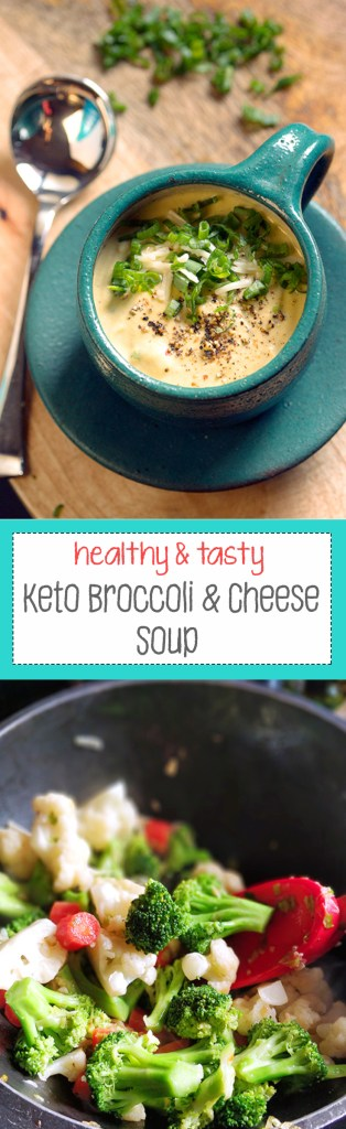 Keto Broccoli cauliflower and cheese soup for pinterest