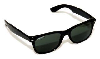 Small version of logo, opaque sun glasses
