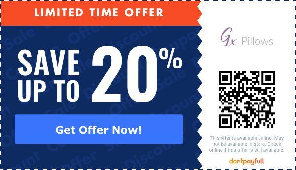 20 off gx pillows coupon promo code