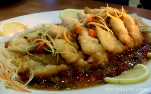 Crispy Fish Fillet with Lemon and Plum Sauce