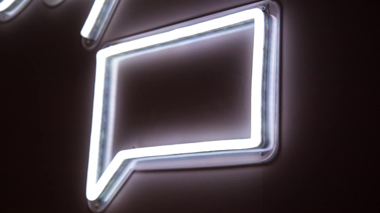 Neon square speech bubble