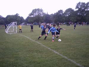 All eyes on the ball from corner kicks at grassroots level.