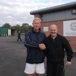 On The Right Phil Rice, Belfry Tigers and Lions Manager is welcomed by Tony, one of the DXTL, Ambassadors