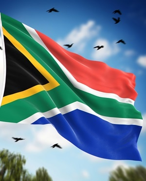 Flag of South Africa , This is a computer generated and 3d rendered image.