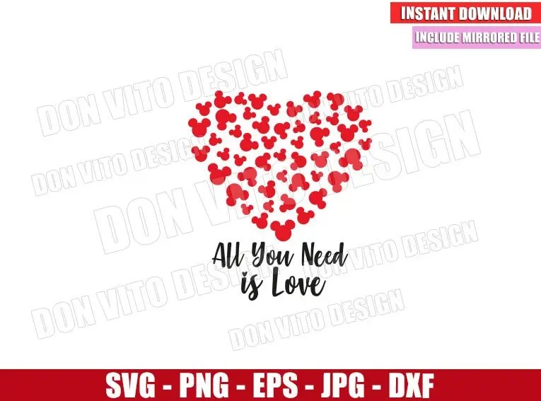 Download Mickey All you need is Love (SVG png) Disney Heart with ...