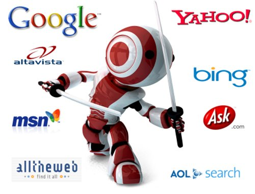 SEO Service in Pacifica png of an Search Engine Optimization Ninja battling search engine logos like google, yahoo and Bing
