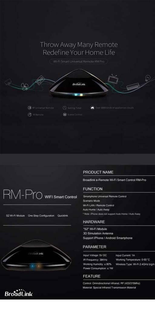 Broadlink rm pro plus infrared remote control