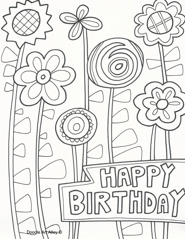 Birthday Coloring Pages Doodle Art Alley