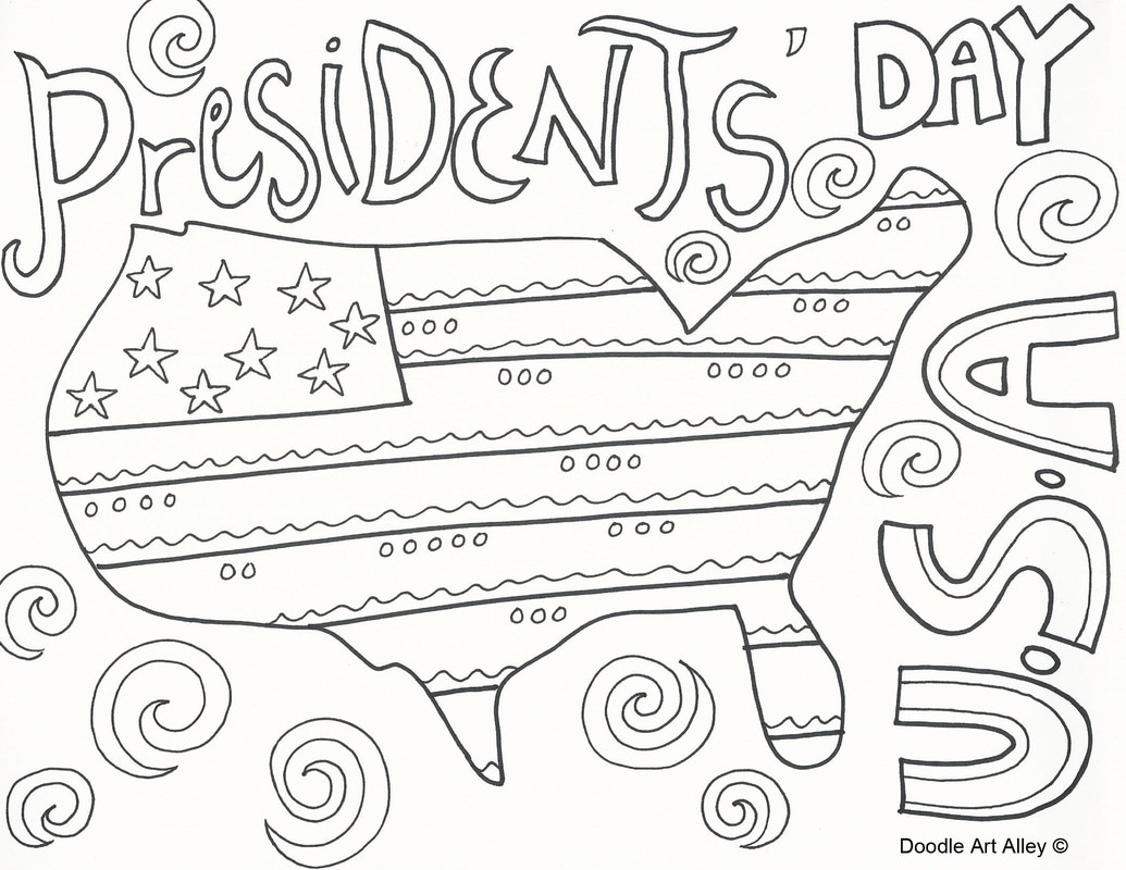 Presidents Day Coloring Pages Doodle Art Alley