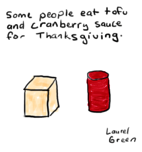 a drawing of some tofu and cranberry sauce