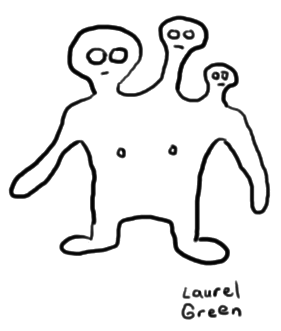 a drawing of a three-headed man