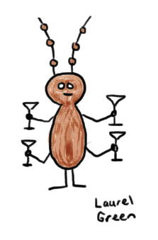 a drawing of a bug with four martinis