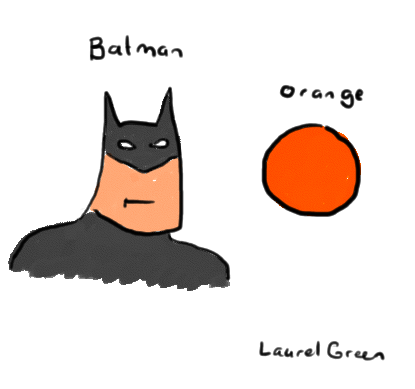 a drawing of batman with an orange