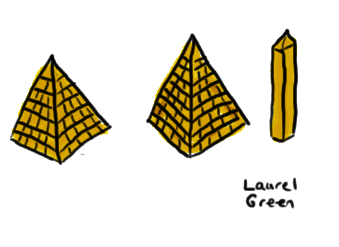 a drawing of two pyramids and an obelisk