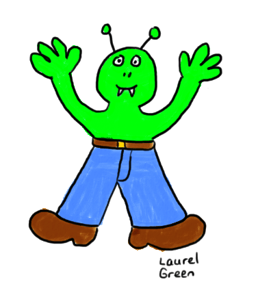a drawing of  a green alien wearing jeans