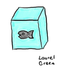 a drawing of a fish frozen in a block of ice