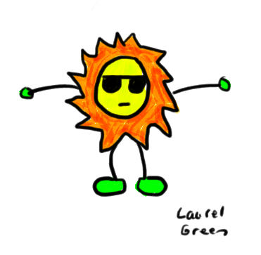 a drawing of a sun guy wearing sunglasses