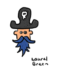 a drawing of Bluebeard the pirate