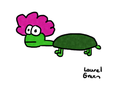 a drawing of a turtle wearing a clown wig