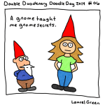 a drawing of laurel hanging out with a gnome