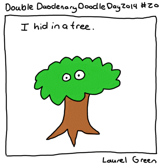 a drawing of laurel hiding in a tree