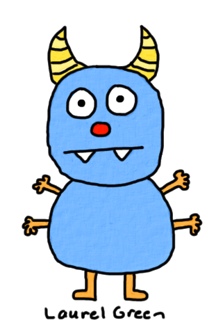 a drawing of monster with four arms