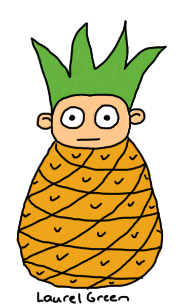a drawing of a hybrid guy/pineapple creature