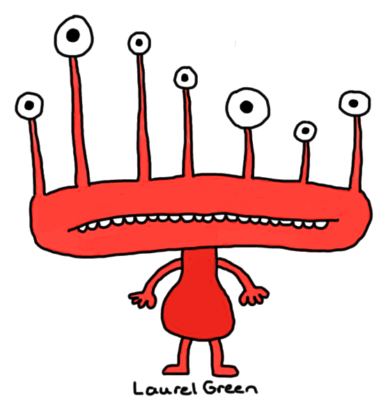 a drawing of a red creature with a wide head and lots of eyeballs