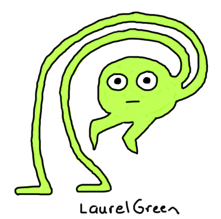 a drawing of a creature with its legs twisted around its body