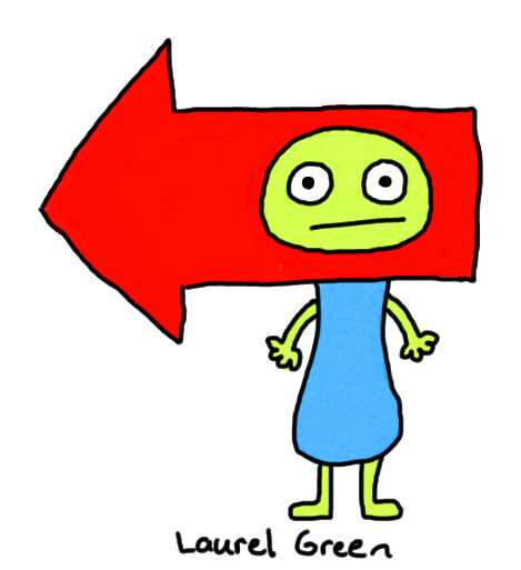 a drawing of a creature with a large red arrow attached to its head