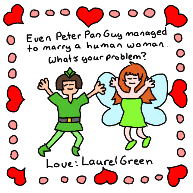 a valentine's card featuring peter pan guy and princess dorothy leaping into the air